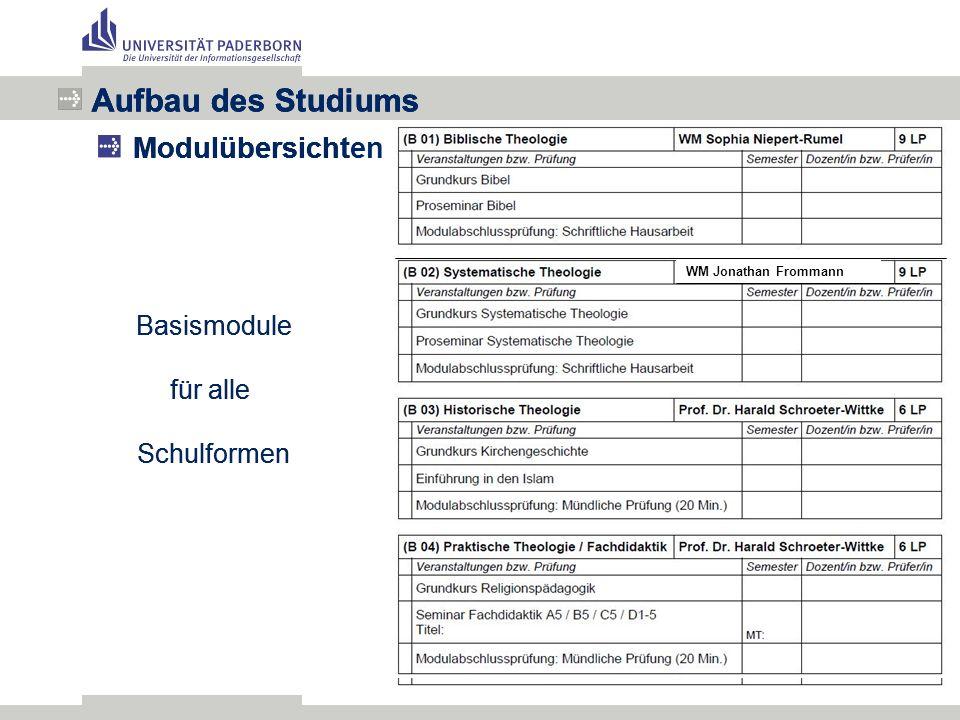 Aufbau des Studiums Modulübersichten im Fach xy Aufbau des Studiums Modulübersicht Basismodule für alle Schulformen Aufbau des Studiums Modulübersicht Basismodule für alle Schulformen WM Jonathan Frommann