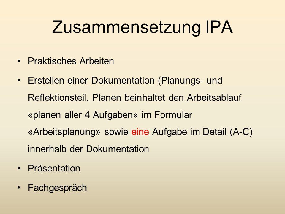 Zusammensetzung IPA Praktisches Arbeiten Erstellen einer Dokumentation (Planungs- und Reflektionsteil. Planen beinhaltet den Arbeitsablauf «planen all