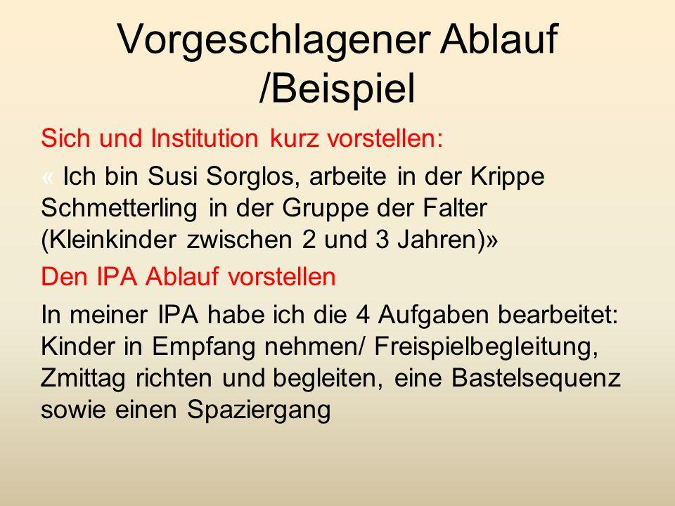 Vorgeschlagener Ablauf /Beispiel Sich und Institution kurz vorstellen: « Ich bin Susi Sorglos, arbeite in der Krippe Schmetterling in der Gruppe der F