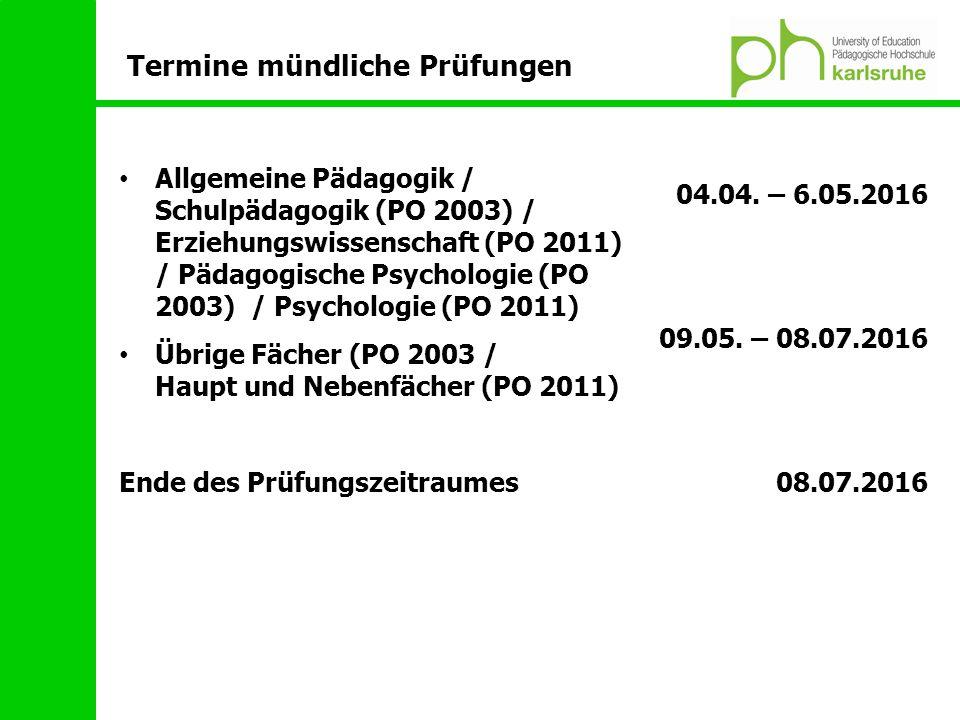 Allgemeine Pädagogik / Schulpädagogik (PO 2003) / Erziehungswissenschaft (PO 2011) / Pädagogische Psychologie (PO 2003) / Psychologie (PO 2011) Übrige