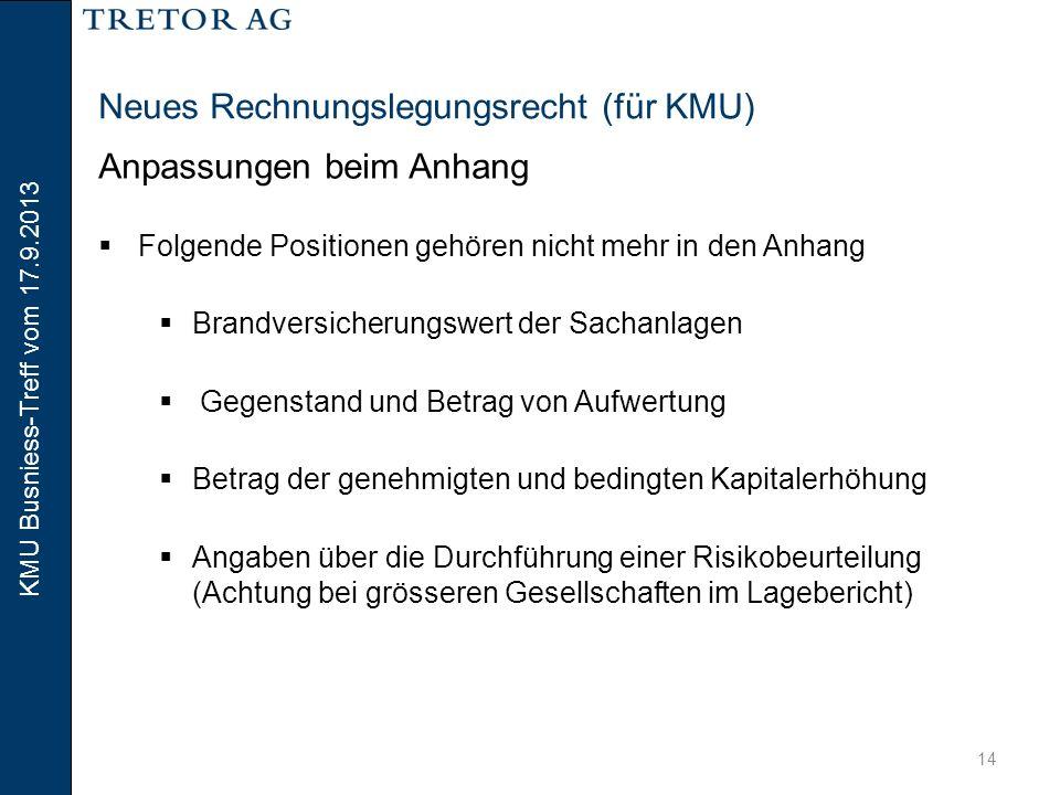 KMU Busniess-Treff vom 17.9.2013 15 Neues Rechnungslegungsrecht (für KMU) Anpassungen beim Anhang  Zusätzliche Angaben bei grösseren Unternehmungen  Angaben zu den langfristigen verzinslichen Verbindlichkeiten  Honorar der Revisionsstelle