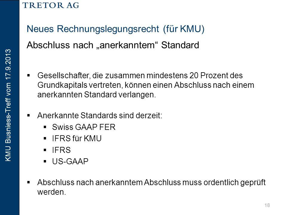 KMU Busniess-Treff vom 17.9.2013 19 Inhaltsverzeichnis  Neues Rechnungslegungsrecht für KMU (Philipp Hammel)  Steueroptimierte Lohnnebenleistungen für KMU (Martin Dettwiler)  Fragen aus dem Publikum