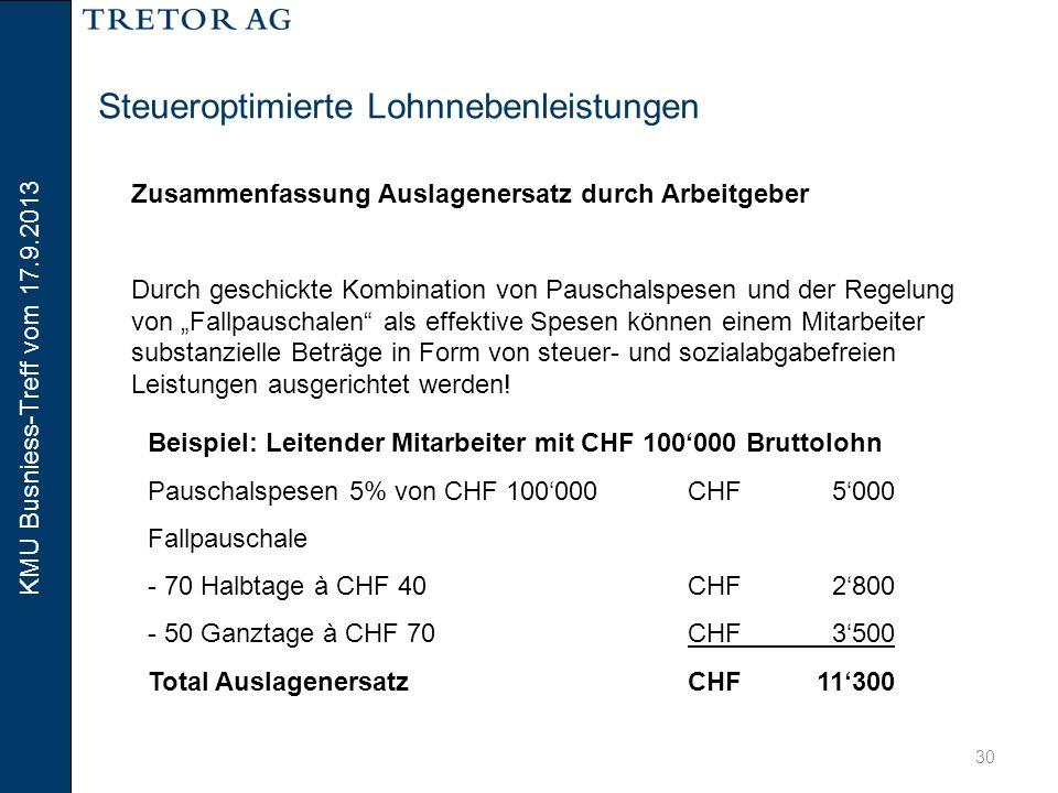 KMU Busniess-Treff vom 17.9.2013 31 Steueroptimierte Lohnnebenleistungen Geschäftswagen 0.8 bzw.