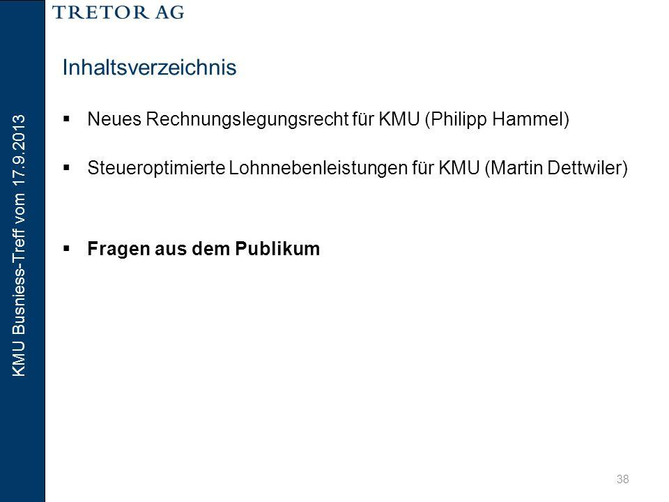 KMU Busniess-Treff vom 17.9.2013 39 Vielen Dank für Ihre Aufmerksamkeit.