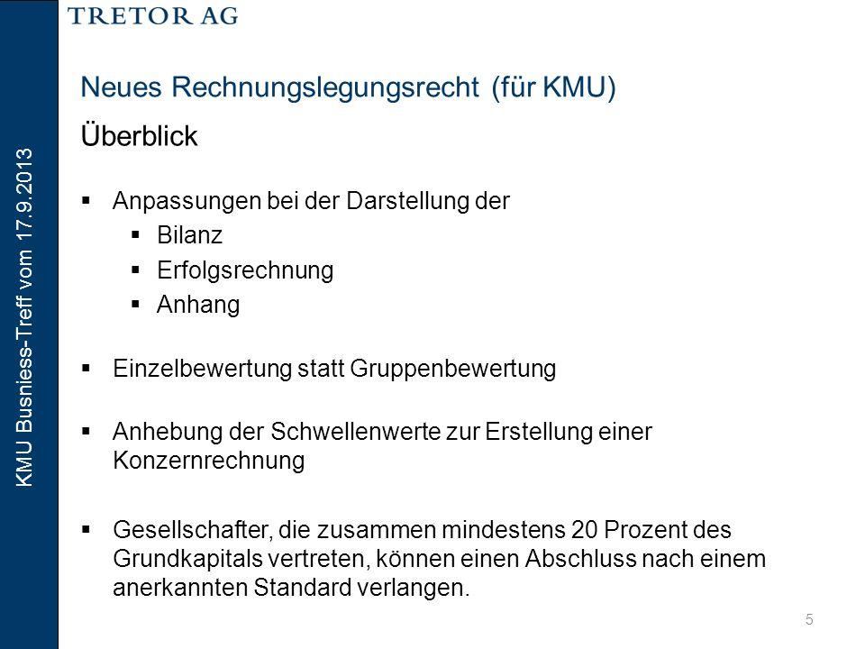 KMU Busniess-Treff vom 17.9.2013 6 Neues Rechnungslegungsrecht (für KMU) Überblick  Was bleibt:  sehr vieles.