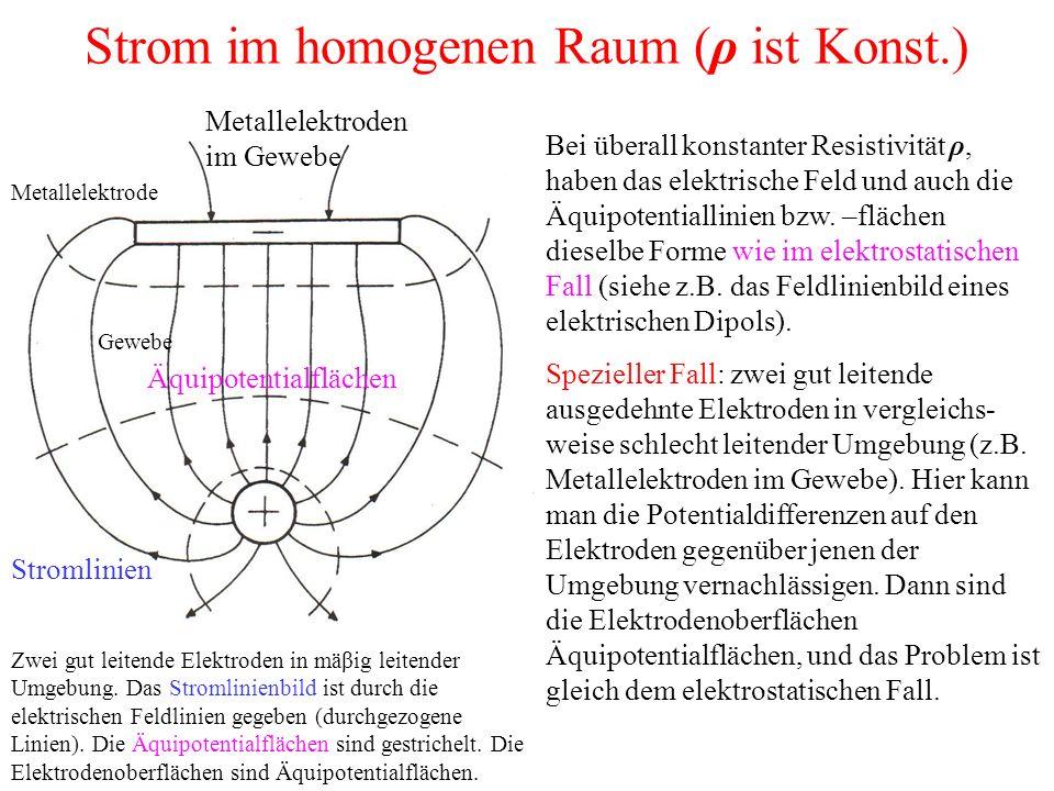 Strom im homogenen Raum (ρ ist Konst.) Zwei gut leitende Elektroden in mäβig leitender Umgebung.