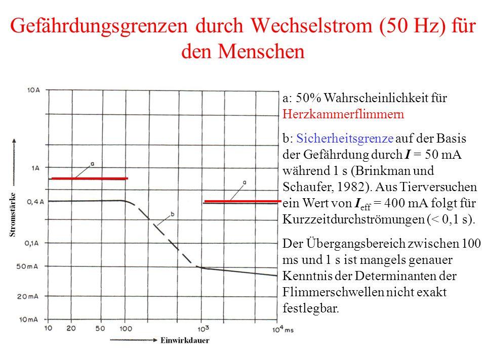 Gefährdungsgrenzen durch Wechselstrom (50 Hz) für den Menschen a: 50% Wahrscheinlichkeit für Herzkammerflimmern b: Sicherheitsgrenze auf der Basis der Gefährdung durch I = 50 mA während 1 s (Brinkman und Schaufer, 1982).