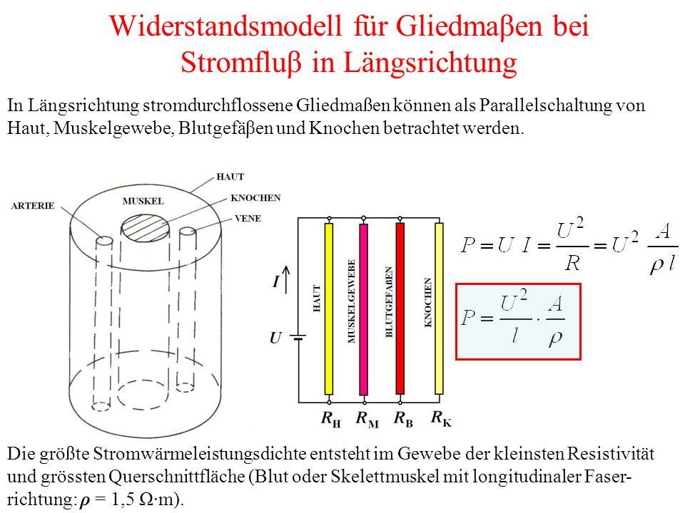 Widerstandsmodell für Gliedmaβen bei Stromfluβ in Längsrichtung In Längsrichtung stromdurchflossene Gliedmaßen können als Parallelschaltung von Haut, Muskelgewebe, Blutgefäβen und Knochen betrachtet werden.