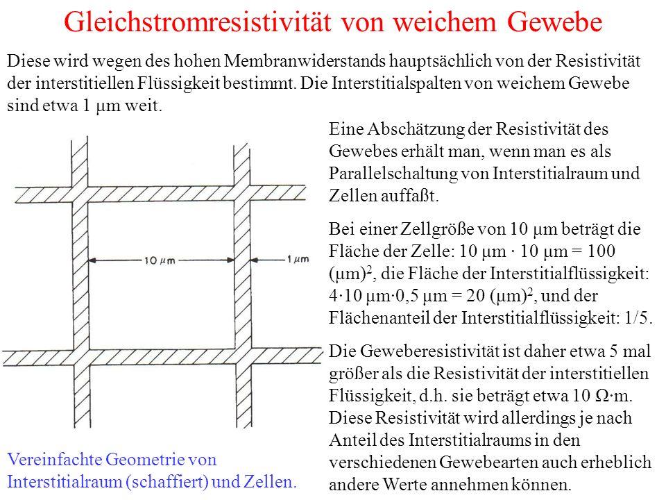 Gleichstromresistivität von weichem Gewebe Vereinfachte Geometrie von Interstitialraum (schaffiert) und Zellen.