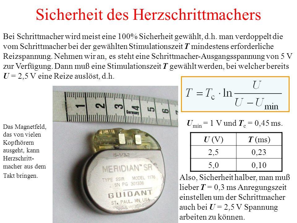 Sicherheit des Herzschrittmachers Bei Schrittmacher wird meist eine 100% Sicherheit gewählt, d.h.