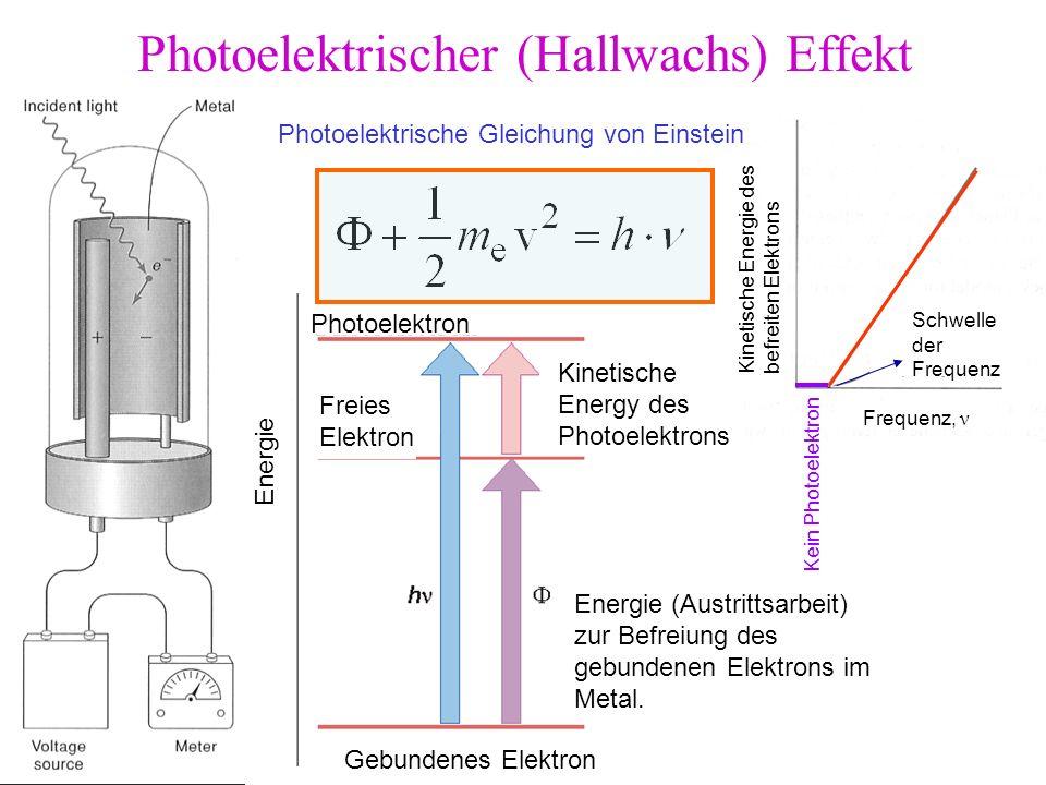 Photoelektrischer (Hallwachs) Effekt Photoelektrische Gleichung von Einstein Gebundenes Elektron Freies Elektron Photoelektron Kinetische Energy des P