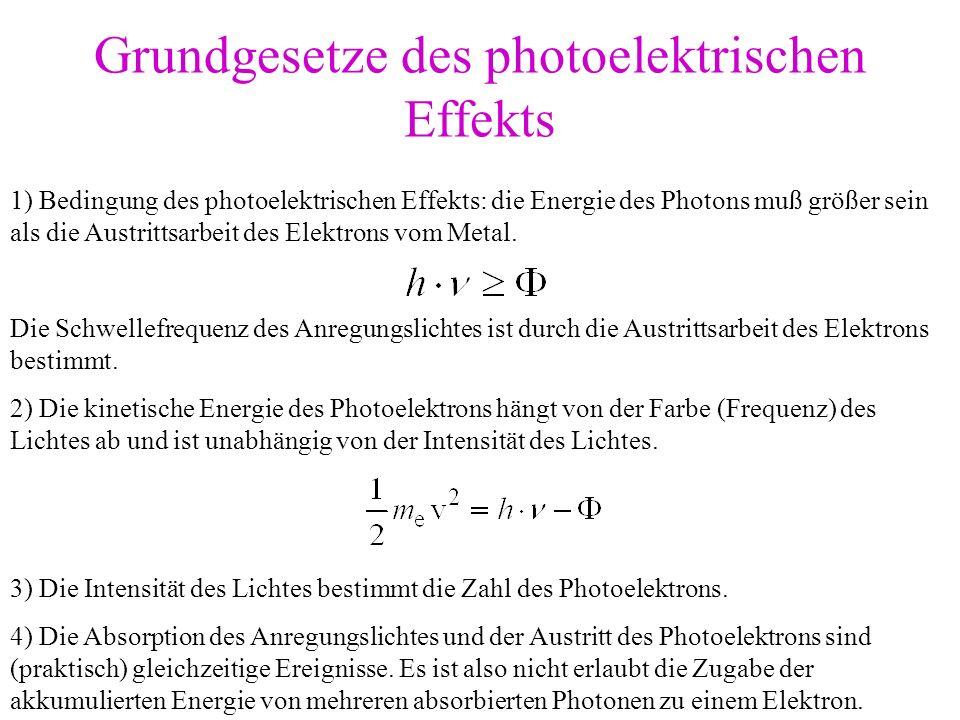 Grundgesetze des photoelektrischen Effekts 1) Bedingung des photoelektrischen Effekts: die Energie des Photons muß größer sein als die Austrittsarbeit