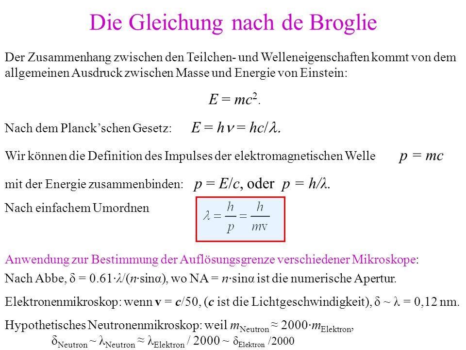 Der Zusammenhang zwischen den Teilchen- und Welleneigenschaften kommt von dem allgemeinen Ausdruck zwischen Masse und Energie von Einstein: E = mc 2.