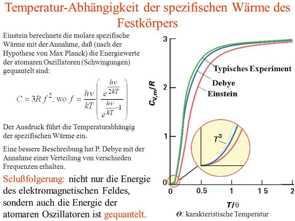 Einstein berechnete die molare spezifische Wärme mit der Annahme, daß (nach der Hypothese von Max Planck) die Energiewerte der atomaren Oszillatoren (