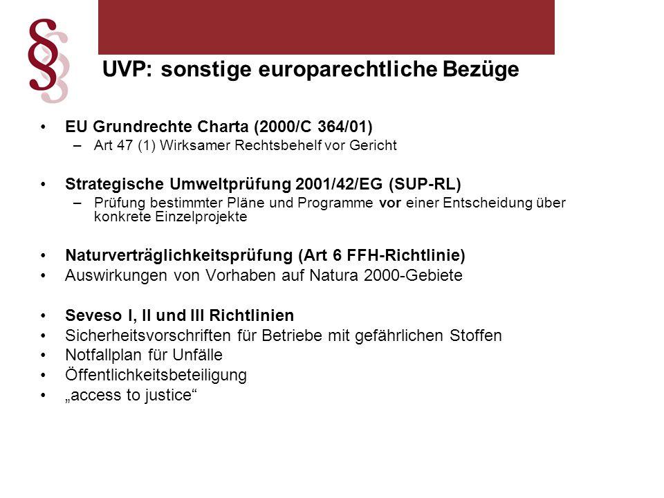 """EU Grundrechte Charta (2000/C 364/01) –Art 47 (1) Wirksamer Rechtsbehelf vor Gericht Strategische Umweltprüfung 2001/42/EG (SUP-RL) –Prüfung bestimmter Pläne und Programme vor einer Entscheidung über konkrete Einzelprojekte Naturverträglichkeitsprüfung (Art 6 FFH-Richtlinie) Auswirkungen von Vorhaben auf Natura 2000-Gebiete Seveso I, II und III Richtlinien Sicherheitsvorschriften für Betriebe mit gefährlichen Stoffen Notfallplan für Unfälle Öffentlichkeitsbeteiligung """"access to justice UVP: sonstige europarechtliche Bezüge"""