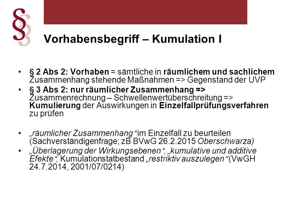 """Vorhabensbegriff – Kumulation I § 2 Abs 2: Vorhaben = sämtliche in räumlichem und sachlichem Zusammenhang stehende Maßnahmen => Gegenstand der UVP § 3 Abs 2: nur räumlicher Zusammenhang => Zusammenrechnung – Schwellenwertüberschreitung => Kumulierung der Auswirkungen in Einzelfallprüfungsverfahren zu prüfen """"räumlicher Zusammenhang im Einzelfall zu beurteilen (Sachverständigenfrage; zB BVwG 26.2.2015 Oberschwarza) """"Überlagerung der Wirkungsebenen , """"kumulative und additive Efekte , Kumulationstatbestand """"restriktiv auszulegen (VwGH 24.7.2014, 2001/07/0214)"""
