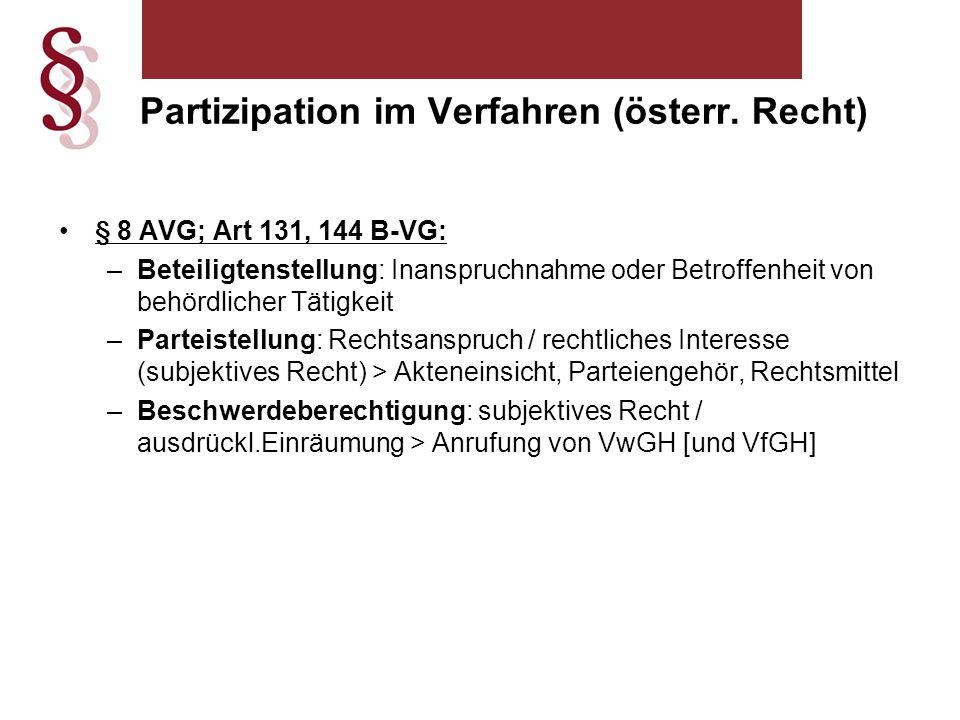 § 8 AVG; Art 131, 144 B-VG: –Beteiligtenstellung: Inanspruchnahme oder Betroffenheit von behördlicher Tätigkeit –Parteistellung: Rechtsanspruch / rechtliches Interesse (subjektives Recht) > Akteneinsicht, Parteiengehör, Rechtsmittel –Beschwerdeberechtigung: subjektives Recht / ausdrückl.Einräumung > Anrufung von VwGH [und VfGH] Partizipation im Verfahren (österr.