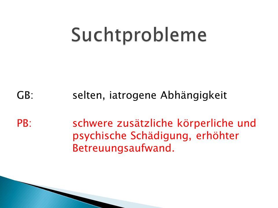 GB:selten, iatrogene Abhängigkeit PB:schwere zusätzliche körperliche und psychische Schädigung, erhöhter Betreuungsaufwand.