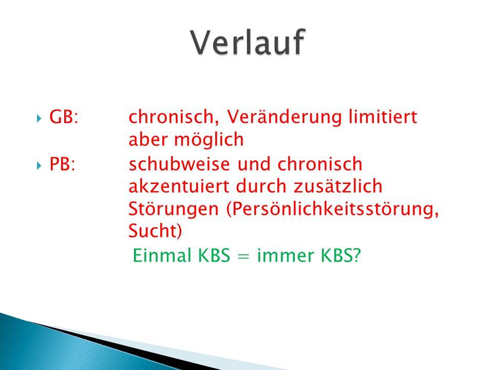  GB:chronisch, Veränderung limitiert aber möglich  PB:schubweise und chronisch akzentuiert durch zusätzlich Störungen (Persönlichkeitsstörung, Sucht) Einmal KBS = immer KBS?