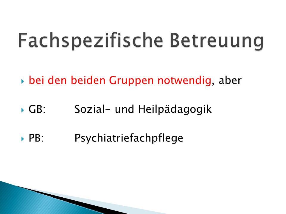  bei den beiden Gruppen notwendig, aber  GB:Sozial- und Heilpädagogik  PB:Psychiatriefachpflege