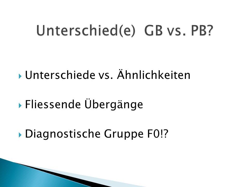  Unterschiede vs. Ähnlichkeiten  Fliessende Übergänge  Diagnostische Gruppe F0!?