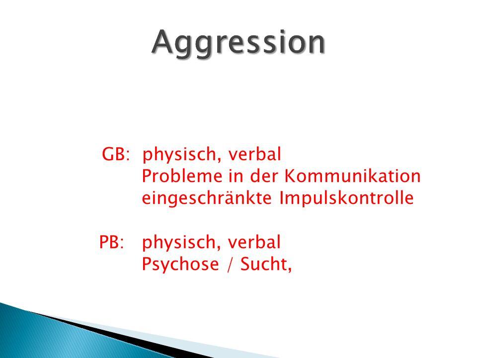 GB: physisch, verbal Probleme in der Kommunikation eingeschränkte Impulskontrolle PB: physisch, verbal Psychose / Sucht,