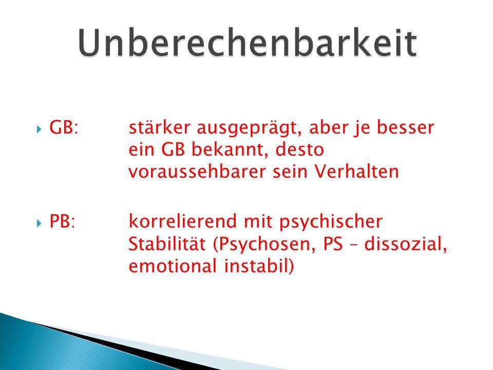  GB:stärker ausgeprägt, aber je besser ein GB bekannt, desto voraussehbarer sein Verhalten  PB:korrelierend mit psychischer Stabilität (Psychosen, P