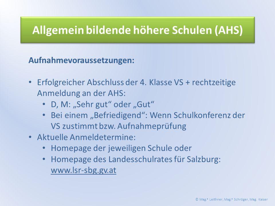 Allgemein bildende höhere Schulen (AHS) Aufnahmevoraussetzungen: Erfolgreicher Abschluss der 4.