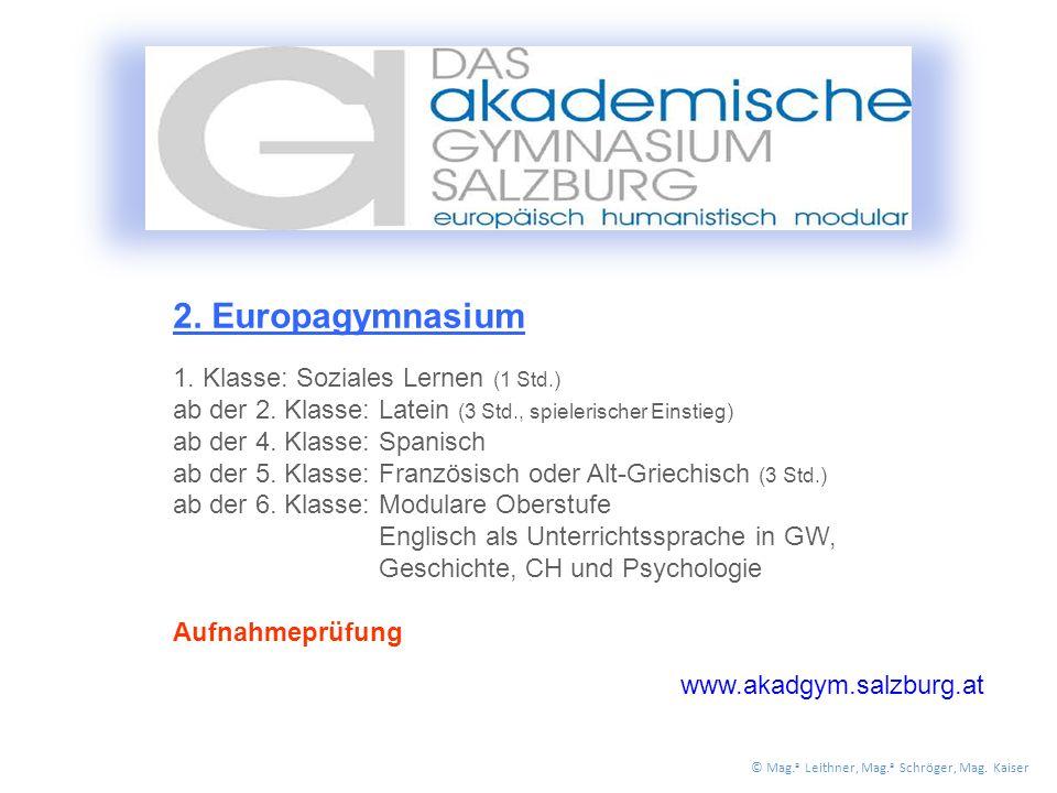2. Europagymnasium 1. Klasse: Soziales Lernen (1 Std.) ab der 2.