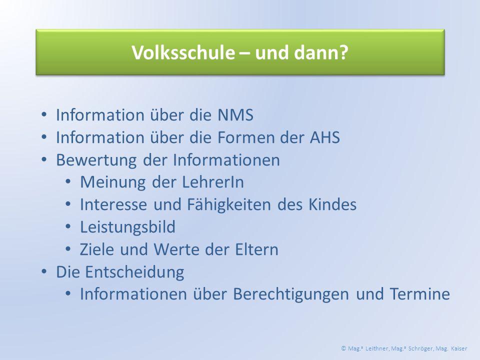 Volksschule – und dann.