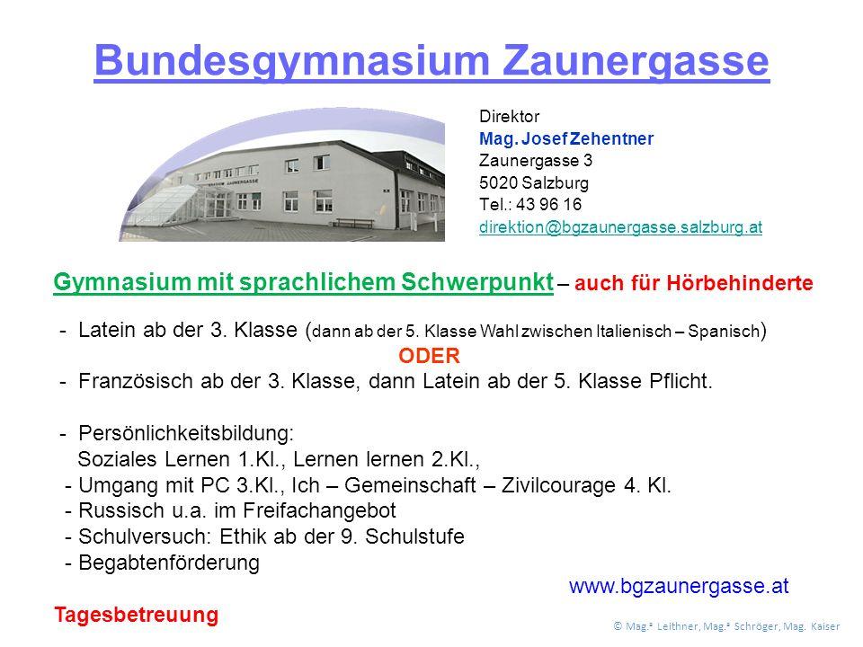 Bundesgymnasium Zaunergasse Direktor Mag.