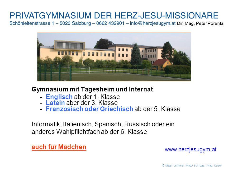 Gymnasium mit Tagesheim und Internat - Englisch ab der 1.