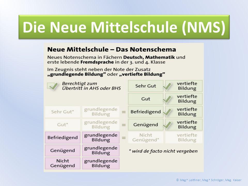 Die Neue Mittelschule (NMS) © Mag. a Leithner, Mag. a Schröger, Mag. Kaiser