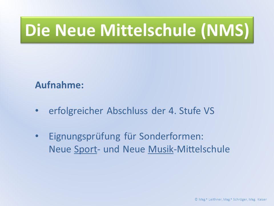Die Neue Mittelschule (NMS) Aufnahme: erfolgreicher Abschluss der 4.