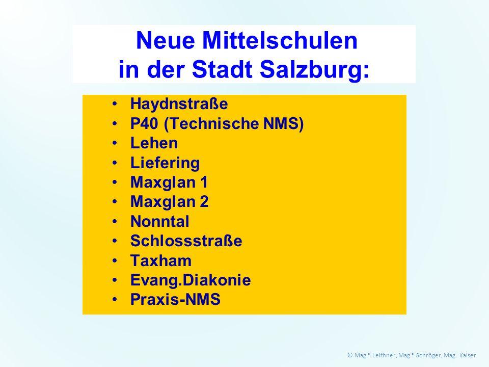 Neue Mittelschulen in der Stadt Salzburg: Haydnstraße P40 (Technische NMS) Lehen Liefering Maxglan 1 Maxglan 2 Nonntal Schlossstraße Taxham Evang.Diakonie Praxis-NMS © Mag.