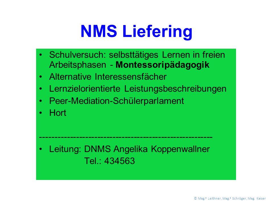 NMS Liefering Schulversuch: selbsttätiges Lernen in freien Arbeitsphasen - Montessoripädagogik Alternative Interessensfächer Lernzielorientierte Leistungsbeschreibungen Peer-Mediation-Schülerparlament Hort --------------------------------------------------------- Leitung: DNMS Angelika Koppenwallner Tel.: 434563 © Mag.