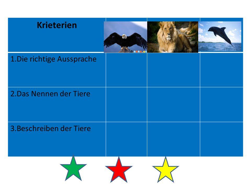 Krieterien 1.Die richtige Aussprache 2.Das Nennen der Tiere 3.Beschreiben der Tiere