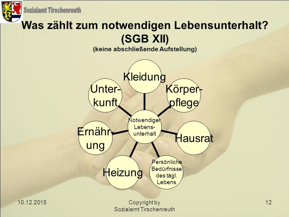 10.12.2015Copyright by Sozialamt Tirschenreuth 12 Was zählt zum notwendigen Lebensunterhalt? (SGB XII) (keine abschließende Aufstellung) Notwendiger L