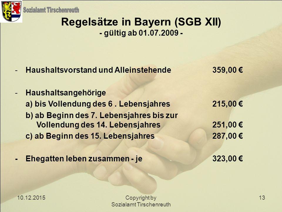 10.12.2015Copyright by Sozialamt Tirschenreuth 13 Regelsätze in Bayern (SGB XII) - gültig ab 01.07.2009 - -Haushaltsvorstand und Alleinstehende359,00