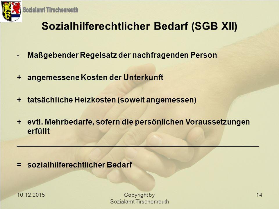 10.12.2015Copyright by Sozialamt Tirschenreuth 14 Sozialhilferechtlicher Bedarf (SGB XII) -Maßgebender Regelsatz der nachfragenden Person + angemessen