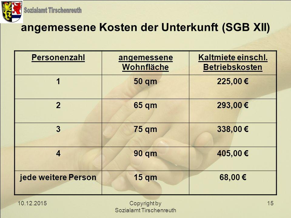 10.12.2015Copyright by Sozialamt Tirschenreuth 15 angemessene Kosten der Unterkunft (SGB XII) Personenzahlangemessene Wohnfläche Kaltmiete einschl. Be