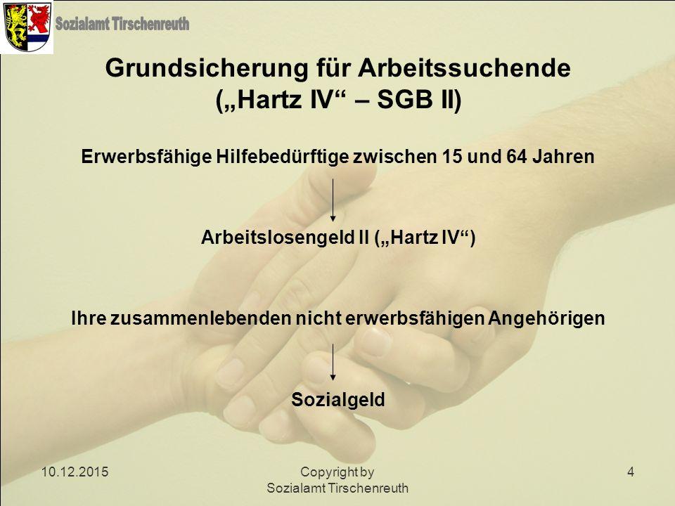 """10.12.2015Copyright by Sozialamt Tirschenreuth 4 Grundsicherung für Arbeitssuchende (""""Hartz IV"""" – SGB II) Erwerbsfähige Hilfebedürftige zwischen 15 un"""