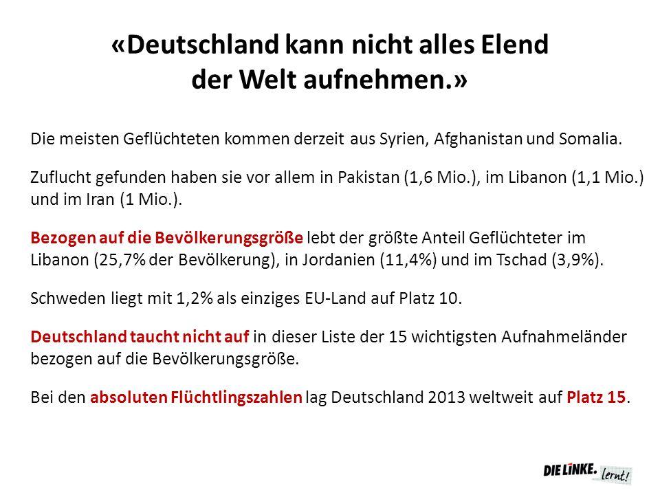«Deutschland kann nicht alles Elend der Welt aufnehmen.» Die meisten Geflüchteten kommen derzeit aus Syrien, Afghanistan und Somalia. Zuflucht gefunde
