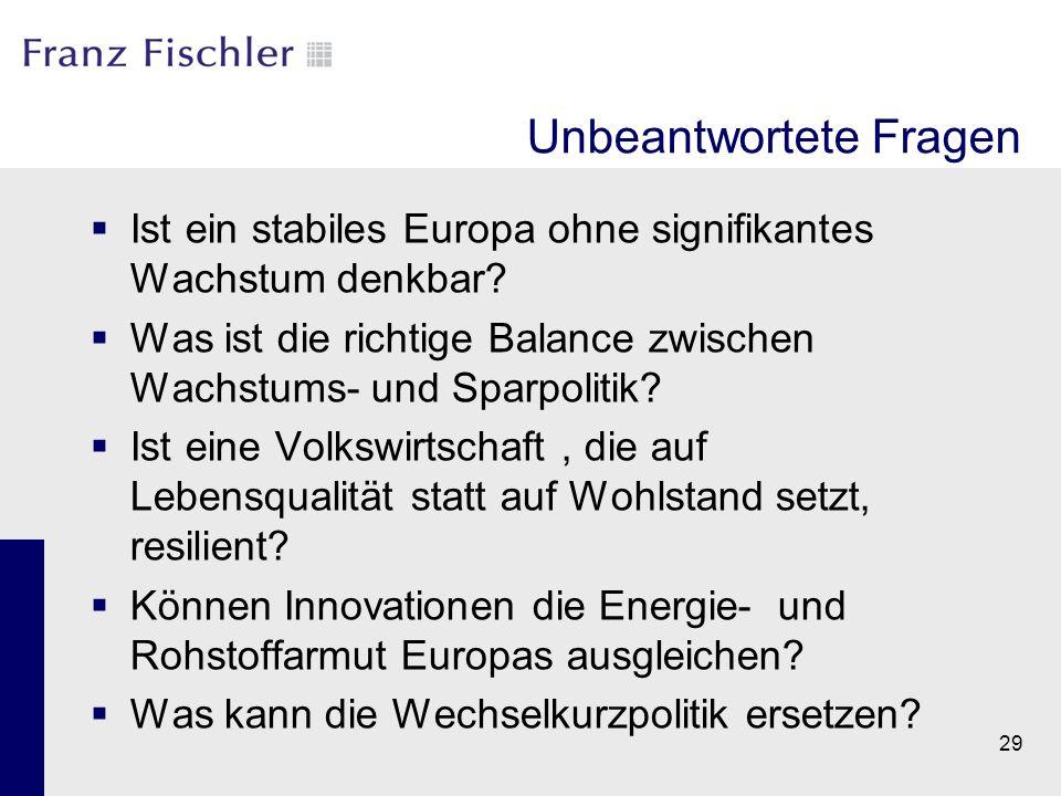 Unbeantwortete Fragen  Ist ein stabiles Europa ohne signifikantes Wachstum denkbar?  Was ist die richtige Balance zwischen Wachstums- und Sparpoliti