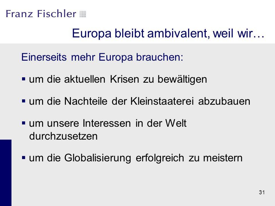 31 Europa bleibt ambivalent, weil wir… Einerseits mehr Europa brauchen:  um die aktuellen Krisen zu bewältigen  um die Nachteile der Kleinstaaterei