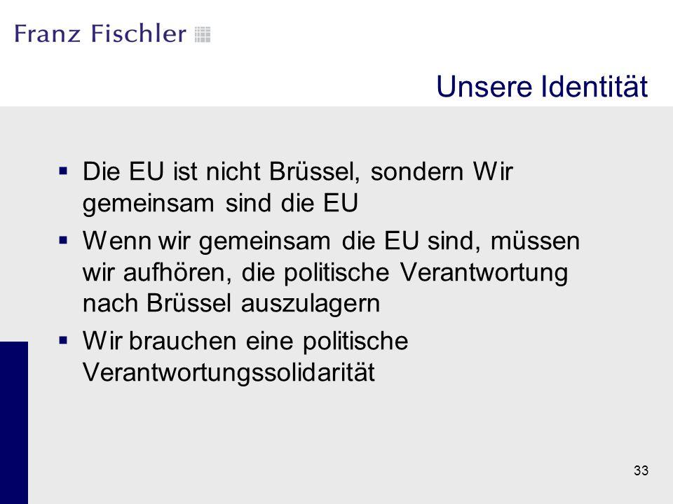 Unsere Identität  Die EU ist nicht Brüssel, sondern Wir gemeinsam sind die EU  Wenn wir gemeinsam die EU sind, müssen wir aufhören, die politische V