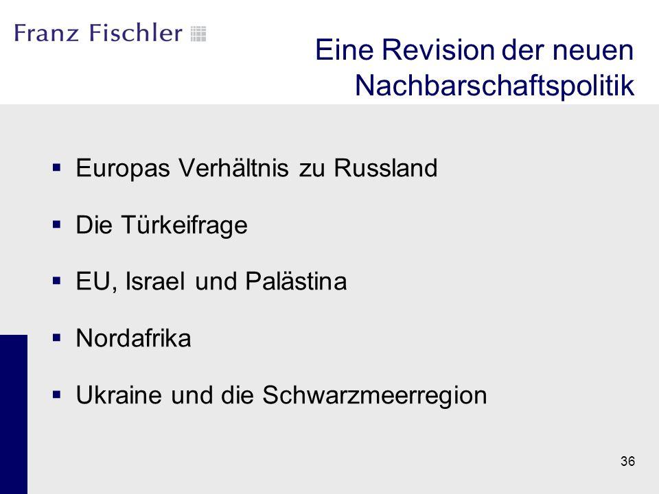Eine Revision der neuen Nachbarschaftspolitik  Europas Verhältnis zu Russland  Die Türkeifrage  EU, Israel und Palästina  Nordafrika  Ukraine und