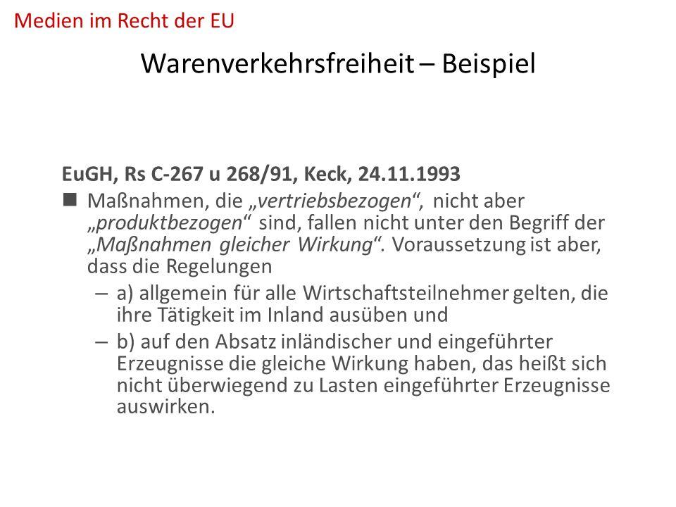 """Warenverkehrsfreiheit – Beispiel EuGH, Rs C-267 u 268/91, Keck, 24.11.1993 Maßnahmen, die """"vertriebsbezogen , nicht aber """"produktbezogen sind, fallen nicht unter den Begriff der """"Maßnahmen gleicher Wirkung ."""