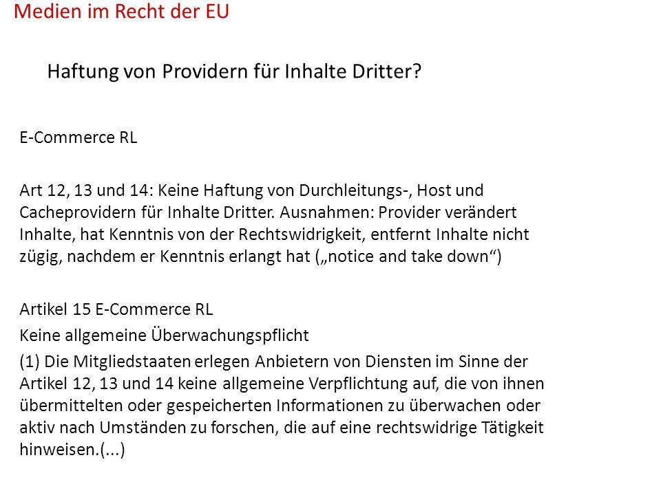 Haftung von Providern für Inhalte Dritter.