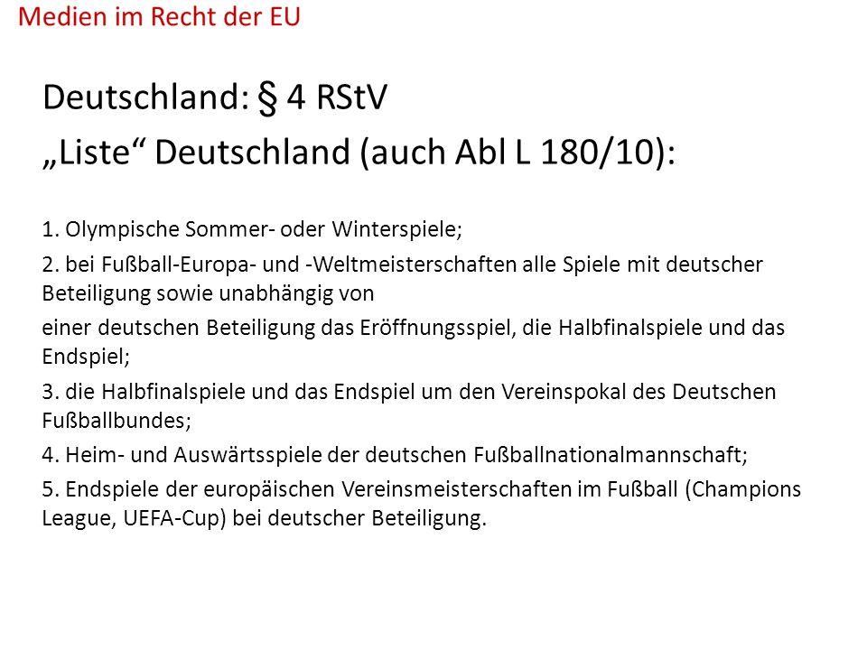 """Deutschland: § 4 RStV """"Liste Deutschland (auch Abl L 180/10): 1."""